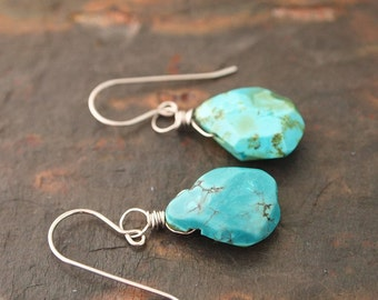 Natural Turquoise Drops Earrings