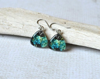 Titanium Floral Earrings- Glass Dangle Earrings- Aqua Green and Black Glass Earrings- Titanium Triangle Glass Earrings- Hypoallergenic