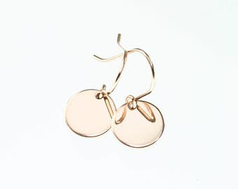 Rose gold earrings - rose gold jewelry - minimalist earrings - rose gold circle earrings - rose gold disc earrings - simple earrings