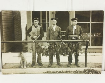 Day's Catch Found Photograph, Three Guys Squirrel Hunting Early 1900s Photo Postcard