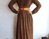 Vintage Indian Cotton Hippie Maxi Dress, Large