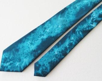 Teal Tie, Hand Painted Teal Tie, Teal Slim Tie, Hand Painted Tie, Slim Tie, Green Tie, Blue Tie