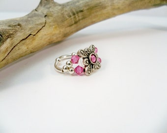 Pink Swarovski Stretch Ring, Gift for Her, Crystal Stretch Band Ring, Pink RIng, Crystal Ring, Womens Jewelry