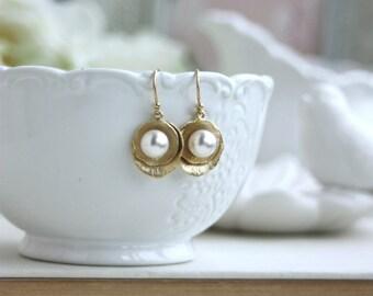 Lotus Flower Earrings, Swarovski Pearl Earrings, Wedding Earrings, Bridal Earrings, Lotus and Pearl Earrings, Flower Dangle Earrings