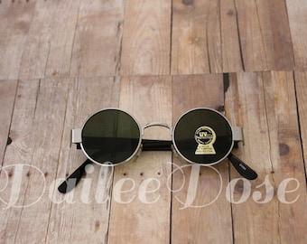 Round Sunglasses | Vintage Deadstock Sunglasses | Dark Gray Lenses | SG1273