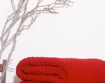 Ready to Ship  Beautiful and Luxuriously Handcrafted Crochet Blanket Throw RANCH RED