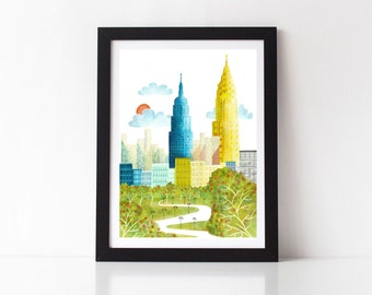Print of New York Central Park Prints Skyline Wall Art, American Cityscape, Skyline, City, Kids room and Nursery Decor, Style: SPPNYCP1
