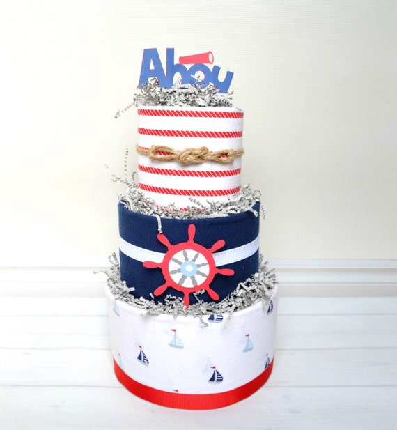Nautical Baby Shower, Ahoy It's a Boy Shower, Nautical Diaper Cake, Blue and Red Baby Shower Decor, Ahoy Baby Shower Centerpiece