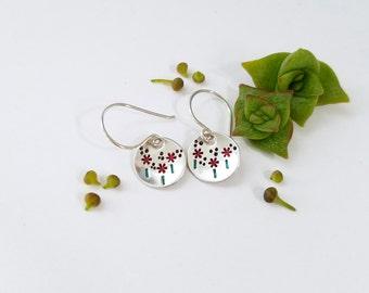 Red Poppy earrings  - Handstamped flower earrings, poppy field, red flower earrings, silver earrings, dainty silver earrings, mommy jewelry