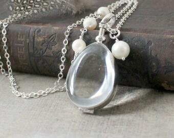 Silver Glass Locket,Teardrop Locket Pearl Locket Necklace Clear Locket Pendant, Push Present, Sterling Silver Locket, Picture Locket Jewelry