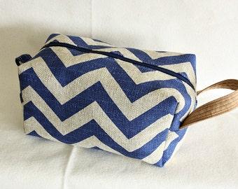 Chevron medium toiletry bag/  pouch/ travel kit/ Cobalt blue/ Stone - ready