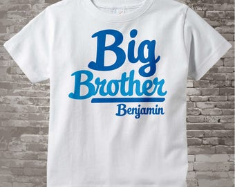 Boy's Big Brother Shirt Personalized Infant, Toddler or Youth Tee Shirt, Blue Text t-shirt or Onesie 02132014g