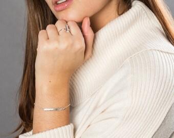 Engraved Floral Bar Bracelet, Modern Art Nouveau Design, Link Mixed Metal Half Cuff Bracelet Pendant, Valentines Gift for Her Jewellery