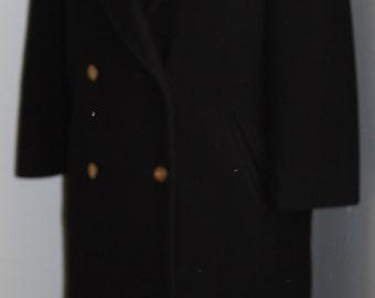 FREE SHIPPING Vintage 1980s Black Long Jg Hook Wool Coat  Size 10  made in usa