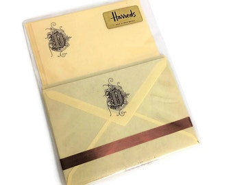 Vintage Engraved Stationery Set // Lined Envelopes // Harrods // Chocolate Brown Engraving
