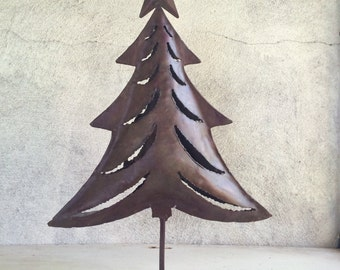 """Vintage 16"""" Christmas tree metal candleholder cut out luminaria decoration rustic decor"""