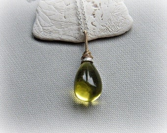 Large solitaire necklace, teardrop necklace, oro verde necklace, lemon quartz necklace, mixed metals necklace, gold sterling silver
