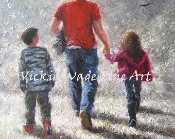 Dad Brother Sister Art Print, walking with dad, boy and girl, father's day gift, father, son and daughter, Vickie Wade Art