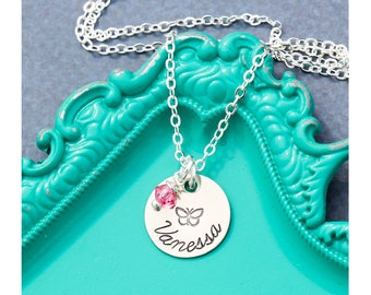 FREE SHIP • Butterfly Gift Girls Butterfly Necklace • Pink Jewelry Butterfly Charm • Handstamped Name Custom Daughter Gift Sister Little Bug