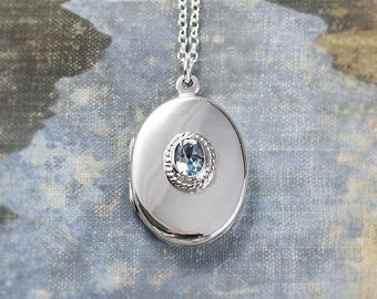 Sterling Silver Locket Necklace, Blue Topaz Set Small Oval December Birthstone Photo Locket - Blue Skies