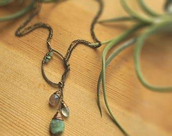Leaf Lariat Necklace Faux
