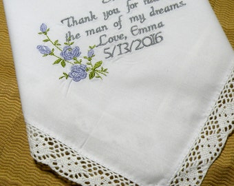 Future Mother in law Wedding Gift personalized embroidered wedding handkerchief By Canyon Embroidery