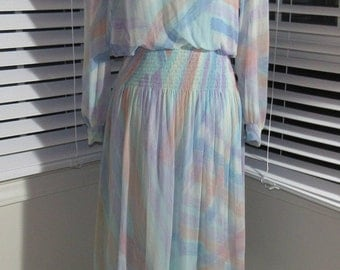 MILESTONE SALE 40% OFF with Coupon, 70s Silk Dress Pastels, Smocked