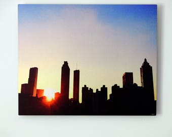 Atlanta Silhouette Sunset Skyline Metal Print with Floating Frame