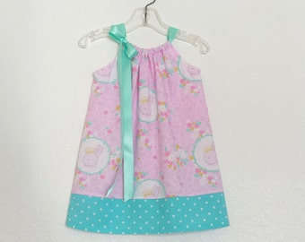 New! Girls Pink Easter Dress - Pink and Aqua with Bunnies and Flowers - Pink and Aqua Sun Dress - Size 12m, 18m, 2T, 3T, 4T, 5 or 6