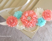 Maternity Sash, Gender Reveal Maternity Sash, Baby Girl Maternity Sash, Peach Maternity Sash, Flower Sash, Peach, Aqua Blue, Ivory, RTS
