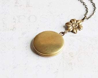 Round Brass Locket Pendant Necklace with Flower Charm on Antiqued Brass Chain, Photo Locket Bridesmaid Jewelry Gift