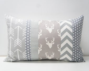 Patchwork Pillow Cover, 16x24, grey/gray