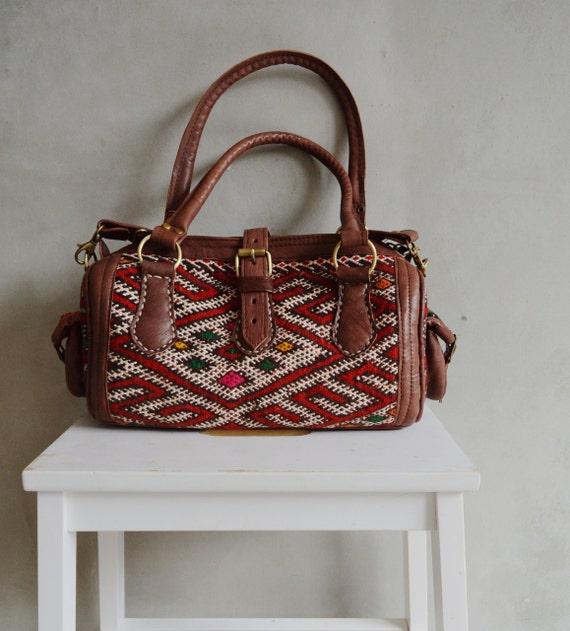 Shoulder bag-Trendy Winter Finds Moroccan Red Kilim Leather Satchel Cross Shoulder Straps Berber style-bag, tote, handbag, purse, gifts