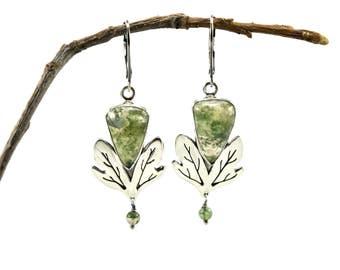 Sassafras Earrings in Sterling Silver - Moss Agate Earrings - Metalsmith Jewelry - Botanical Earrings