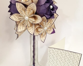 Custom Love Dozen with Purple Roses- Free US Shipping, Vase & Card Included, paper flowers, paper roses, Your names and anniversary date