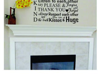 Vinyl Wall Decal - Subway Art Style - Personalized Family Rules - Wall Words