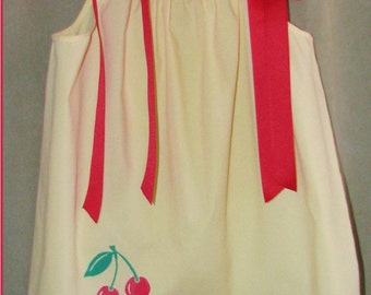 Baby dress sz 12 to 24 months Hand Stamped Cherries Authentic Pillowcase dress yellow red