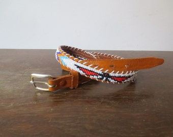 Vintage Thunderbird Hand Beaded & Tooled Leather Belt, Native American, Southwestern, AS IS