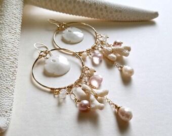 Sand Dollar Earrings, Pink White Shell Earrings, Real Sand Dollar Jewelry, White Sand Dollar Hoops, Hawaiian Shell Hoops: Ready to Ship