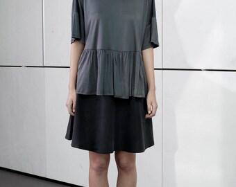 Gray elegant shirt, scoop neck, loose fit, short summer top, gray minimal top, waist ruffle, short sleeves, plus size, oversize top, frill