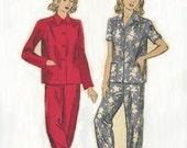 Vintage Women's Pajama Pattern, DuBarry 5538 Size 12 Bust 30