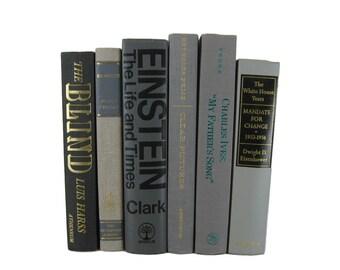Gray Decorative Books, Vintage Books ,  Wedding Decor , Book Decor  , Photo Prop , Bookshelf Decor , Old Book Decor ,