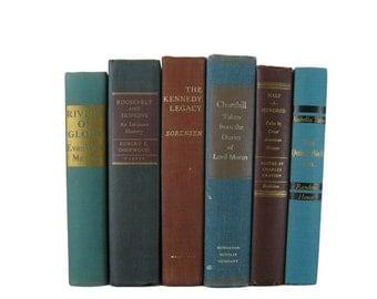 Farmhouse Vintage  Blue Brown Decorative Books ,  vintage books , old books , vintage book bundle , photo prop , wedding decor , book decor