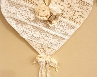 vintage lace heart shabby chic farmhouse home decor Valentines wedding romantic recycled accent