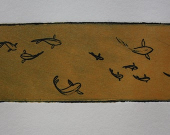 Goldfish and koi pond small etching print - one of kind