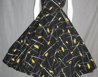 1950's Atomic Dress Killer Print Split Sleeve Full Skirt 30 waist Lg Sundress Viva Las Vegas Rockabilly Vlv