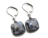 Blue Labradorite Gemstone Squares . Earrings . Leverbacks