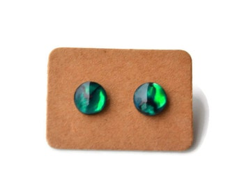 Green Paua Shells . Abalone . Studs . Earrings