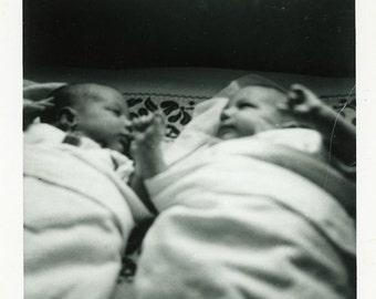 "Vintage Photo ""Richard and Andrew"" Children Baby Snapshot Antique Photo Old Black & White Photograph Found Paper Ephemera Vernacular - 189"
