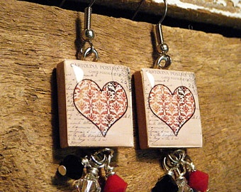 Red Love Heart / Scrabble Tile Earrings / Dangle Earrings / Valentines Day / Vintage Style / Swarovski Crytals